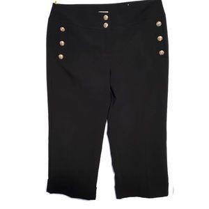 Chico's Size 3 Dress Sailor Pants Gold Buttons